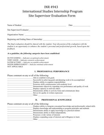 USF Site Supervisor Evaluation Form   Government And .