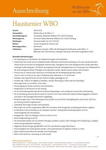 Hausturnier WBO Ausschreibung - Reitfreunde an der Bille