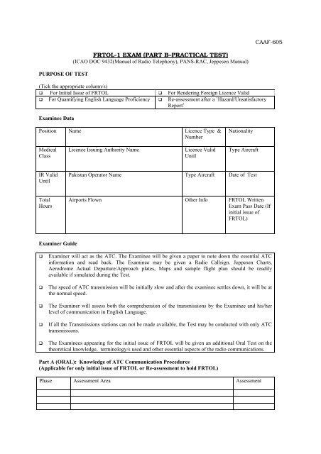 FRTOL-1 EXAM (PART B–PRACTICAL TEST) - CAA
