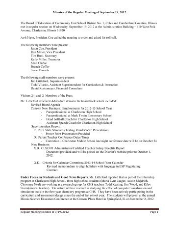 Minutes of the Regular Meeting of September 19, 2012 The Board of ...