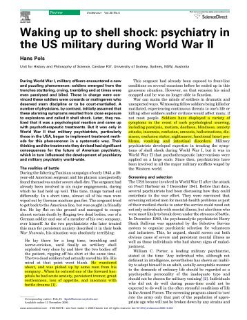 Waking up to shell shock: psychiatry in the US military during World War II
