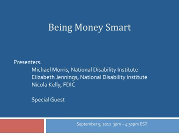 """Download the """"Being Money Smart"""" - National Disability Institute"""