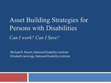 View the presentation - National Disability Institute
