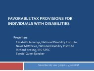 Favorable Tax Provisions for Individuals with Disabilities - National ...