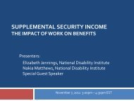 Supplemental Security Income – The Impact of Work on Benefits