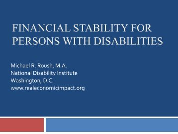 Effective Rehabilitation Services - National Disability Institute