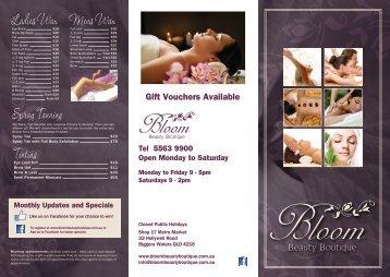Price List - Bloom Beauty Boutique