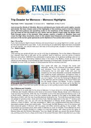 Trip Dossier for Morocco – Morocco Highlights - Families Worldwide