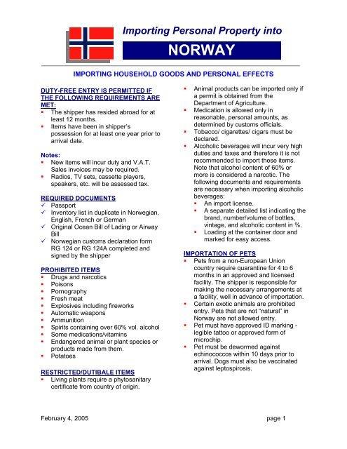 NORWAY - AERO International Shipping Ltd