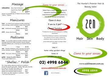 Zen Hair Skin Body Menu & Price List