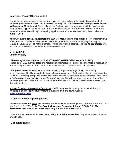 2012-13 December class selection letter1 - Pickens Technical College