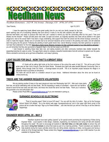Parent Newsletter 4-19-13.pdf - Needham Elementary - Durango ...