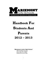 Junior High Handbook - Mariemont City Schools