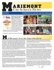 Newsletter Fall of 2010.indd - Mariemont City Schools