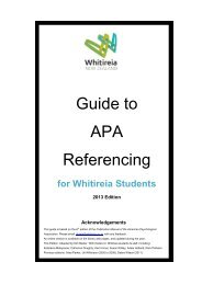 Guide to APA Referencing - Whitireia Community Polytechnic