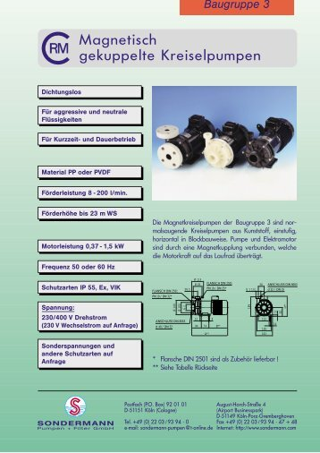 Magnetisch gekuppelte Kreiselpumpen - Hydrolit