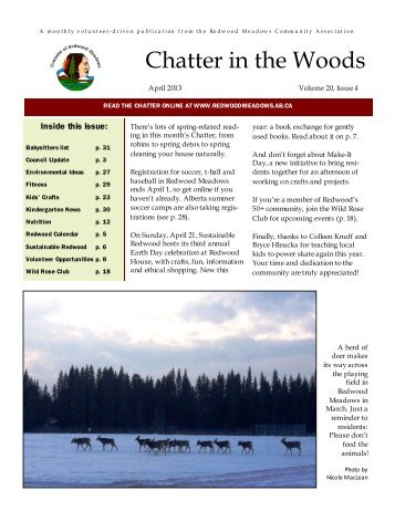 April 2013 Chatter - Townsite of Redwood Meadows