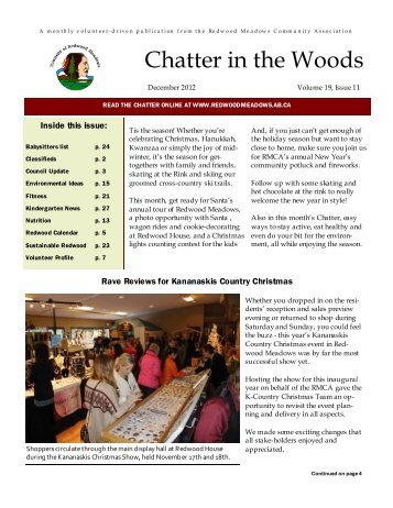 December 2012 Chatter - Townsite of Redwood Meadows