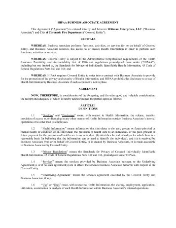 HIPAA BUSINESS ASSOCIATE AGREEMENT ...   City Of Coronado