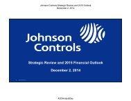 Johnson Controls NY Investor Day 2014