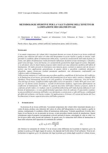 metodologie speditive per la valutazione dell ... - idrologia@polito