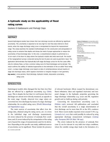 A hydraulic study on the applicability of flood ... - idrologia@polito