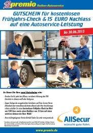 GUTSCHEIN für kostenlosen Frühjahrs-Check &15 EURO ... - AllSecur