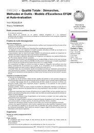 EME262 - Qualité Totale : Démarches, Méthodes et Outils ... - Cnam