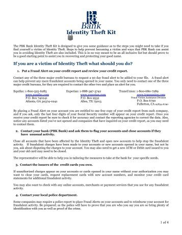 If you are a victim of Identity Theft what should you do? - PBK Bank
