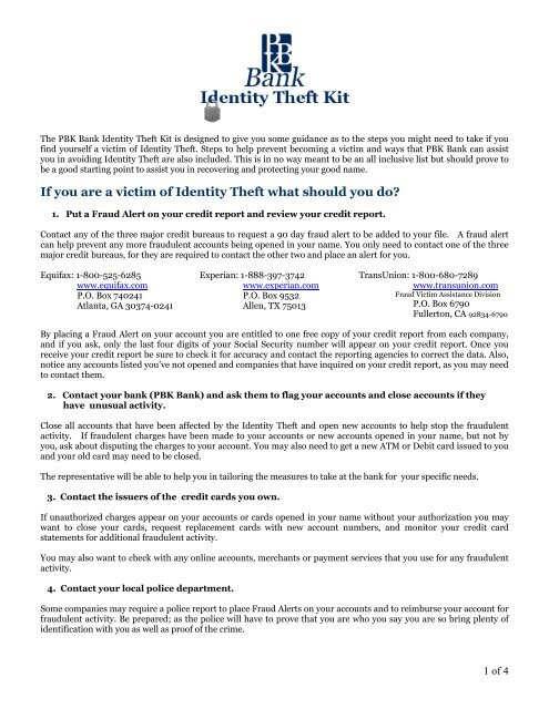 If You Are A Victim Of Identity Theft What Should You Do Pbk Bank