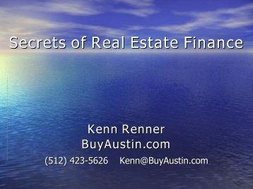 Secrets of Real Estate Finance