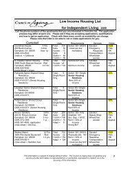 Low Income Housing List for Independent Living 2009