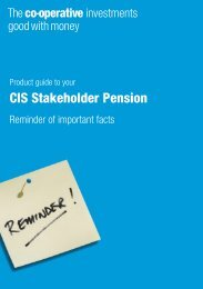 Stakeholder Pension Scheme - The Co-operative Insurance