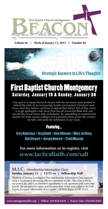 January 13, 2013 - First Baptist Church of Montgomery