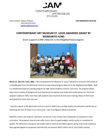 contemporary art museum st. louis awarded grant by monsanto fund
