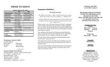 Plymouth Church Of Christ Bulletin for 2010-02-28