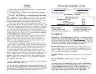 Plymouth Church of Christ Bulletin for 2012-12-02