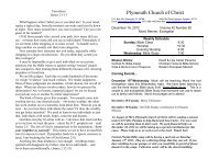 Plymouth Church of Christ Bulletin for 2012-12-16