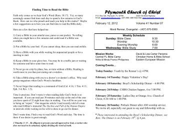 Plymouth Church of Christ Bulletin for 2012-02-12