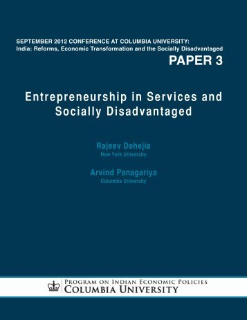 paper 3 - Program on Indian Economic Policies - Columbia University