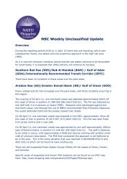 NSC Weekly Unclassified Update - NATO Shipping Centre