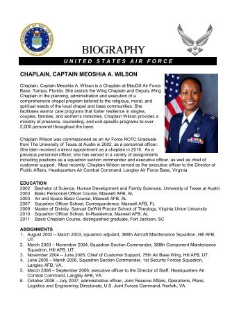 air force bio template chaplain captain john c choi macdill air force base