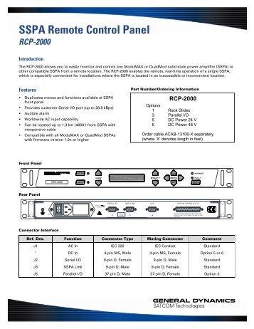 SSPA Remote Control Panel - General Dynamics SATCOM ...