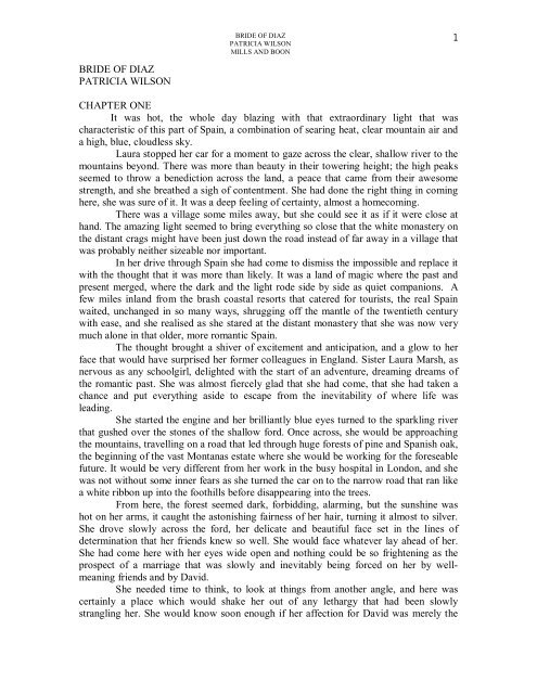 BRIDE OF DIAZ PATRICIA WILSON CHAPTER ONE It was hot, the