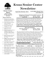 Kraus Senior Center Newsletter - Cary Park District