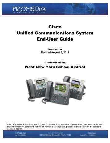 Cisco Phones User's Guide - West New York School