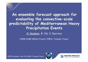 An ensemble forecast approach for evaluating the ... - HEPEX