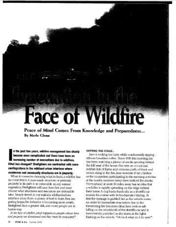 Evacuation in the Face of Wildfire - Firewise