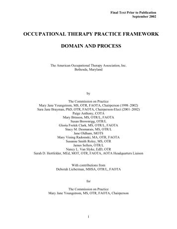 occupational therapy practice framework domain and process - nibis