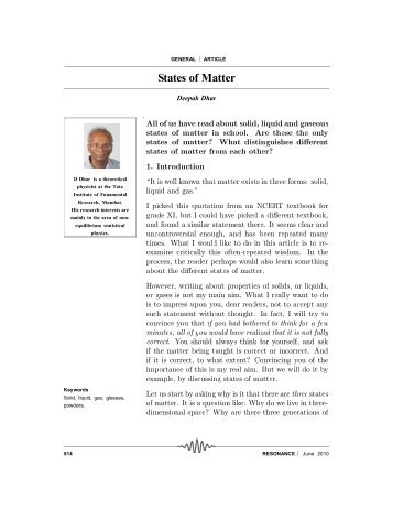 States of Matter - Department of Theoretical Physics - Tata Institute ...